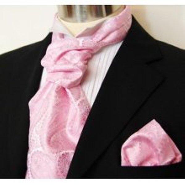 Vittorio Farina Pink Paisley Ascot Tie and Handkerchief