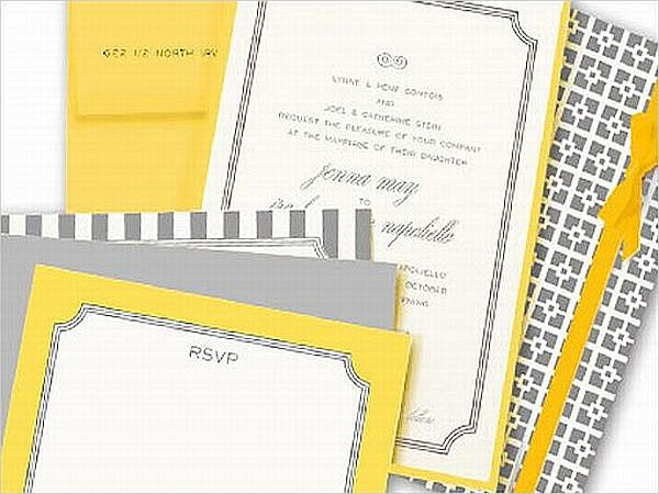 Yellow and Grey Invitation Card