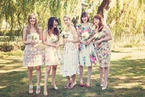 vintage-london-wedding-floral-bridesmaids-dress