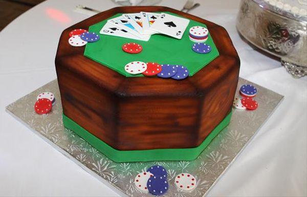 Poker table cake