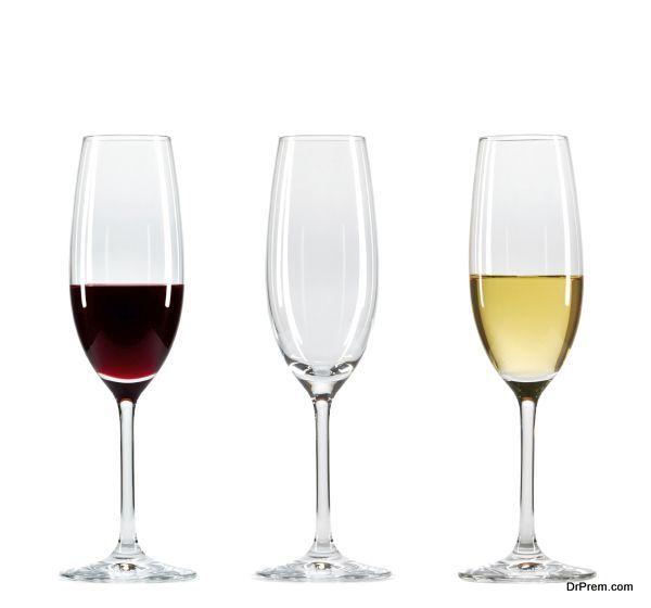 Set of three wine glasses with wine