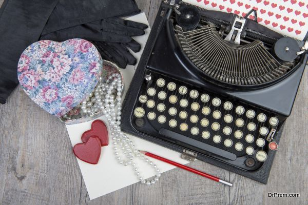 Gift, hearts and typewriter for Valentine's day