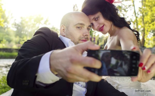 Bride and groom selfie