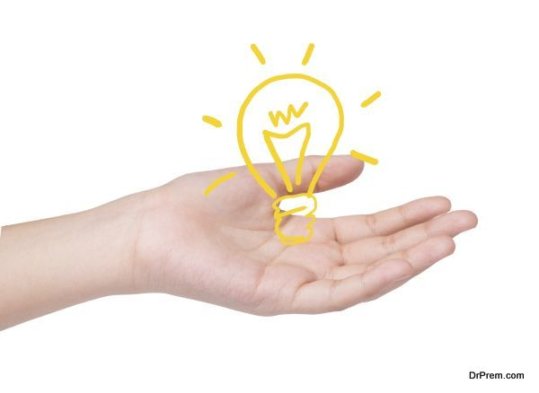 Female hand with drawing light bulb ,Idea concept