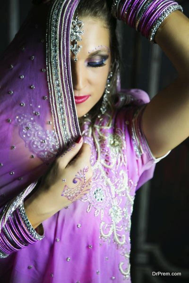 wearing sari