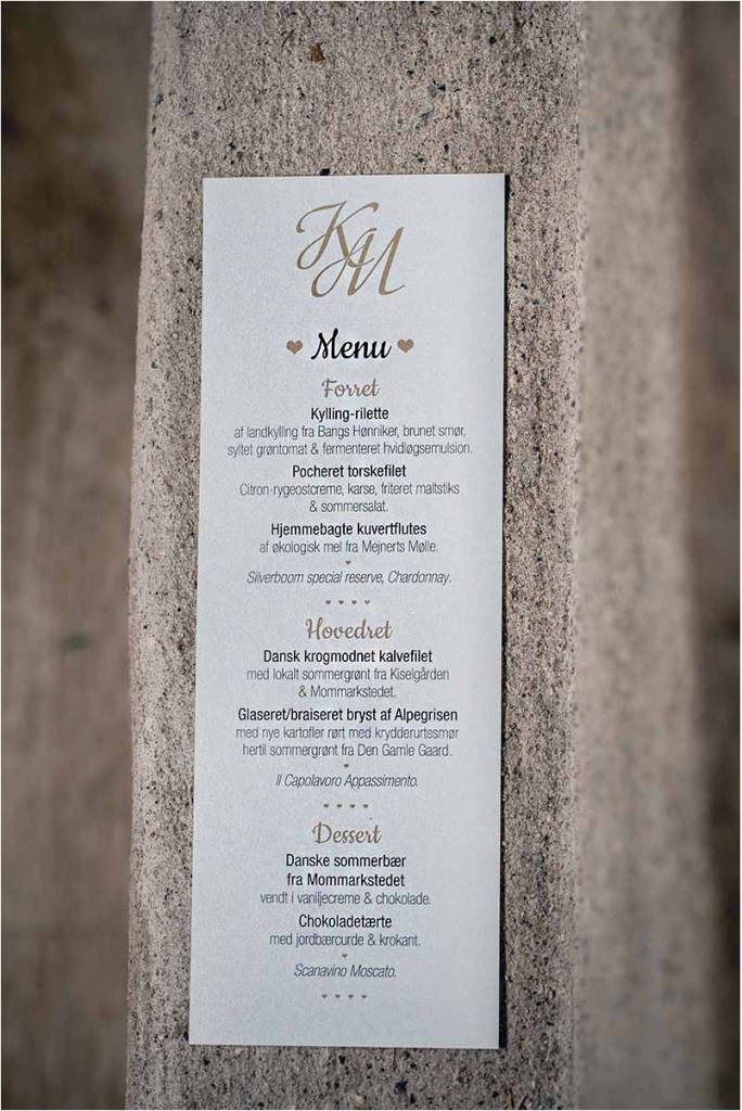 menu bryllup
