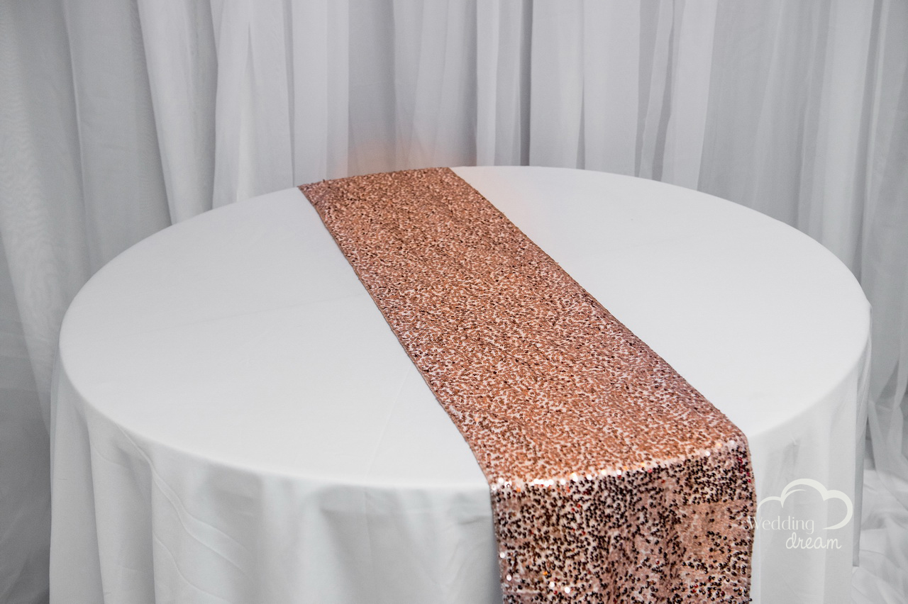 chair covers and table linens rentals silver bows rosegold sequence runner