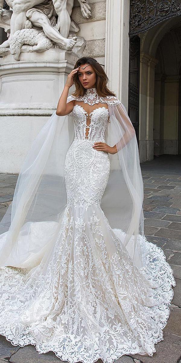 mermaid wedding dresses sweetheart deep v necklne with cape lace crystal design