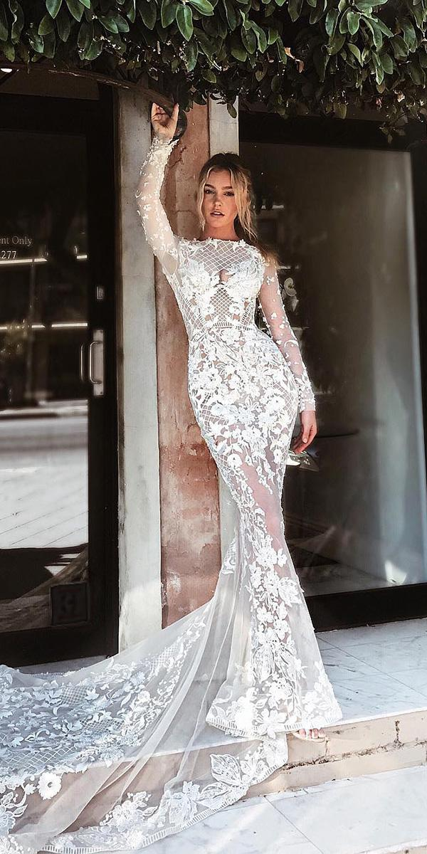 mermaid wedding dresses with long sleeves lace floral appliques pallas couture