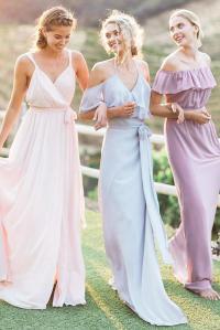 mismatched-bridesmaid-dresses-sheath-long-neutral-color ...
