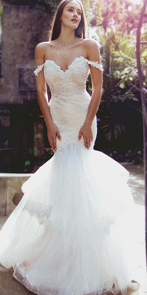 mermaid wedding dresses off the shoulder tulle skirt laurene laine