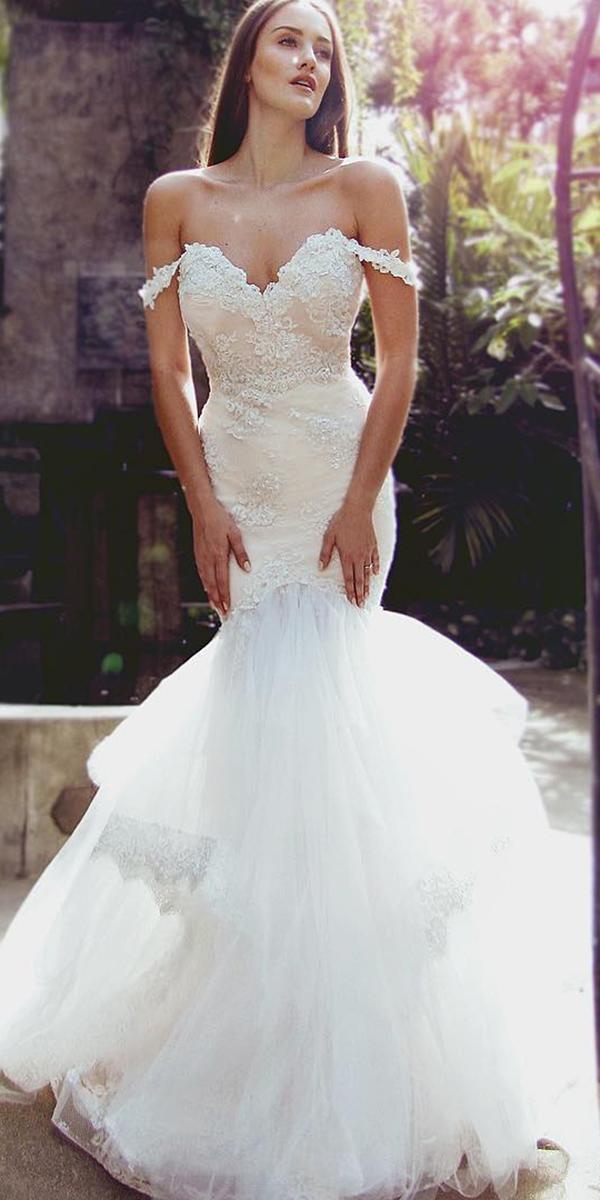 mermaid wedding dresses off the shoulder tulle skirt laurene laine