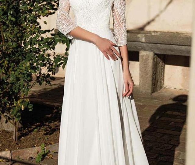 Sheath With Three Quote Sleeves Sweetheart Monica Loretti Wedding Dresses