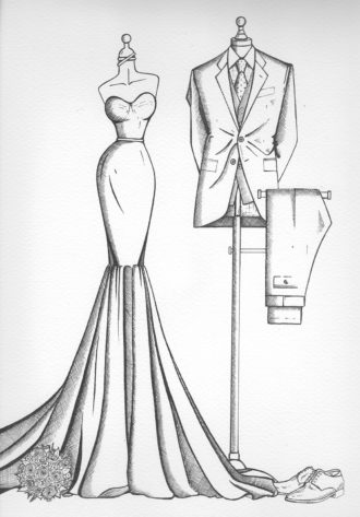 mirror view sketch wedding