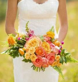 "A ""Custom Bouquet"" for the Bride in shades of peach and orange"