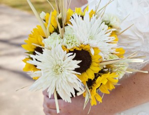 Sunflowers and White Mums Bridal Bouquet