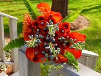 Orange Calla Lily and Blue Delphinium Bridal Bouquet