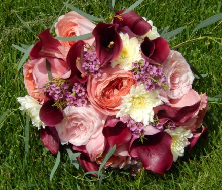 Merlot and burgundy flowers bridal bouquet