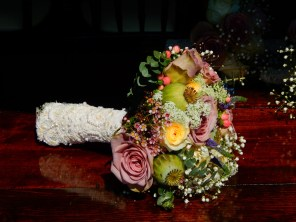 Roses and berries bridal bouquet