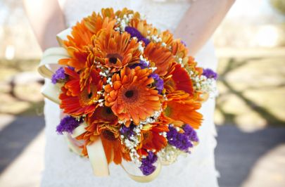 Gerber Daisy and Purple Statice Bridal Bouquet