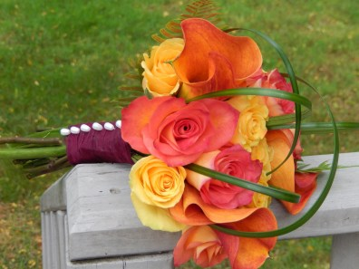Fall color bridal bouquet with calla lillies