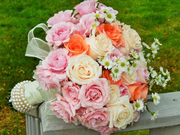 Roses white, pink and orange bridal bouquet
