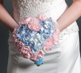 Heart shaped Hydrangea and carnation bridal bouquet