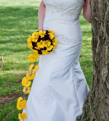 Cascading yellow daisy bridal bouquet