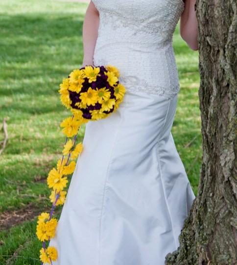 Cascading yellow daisy bridal bouquet