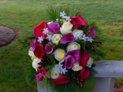 white, merlot and pink bridal bouquet