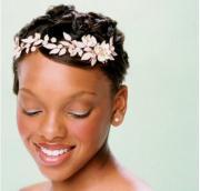 short hair african american bride