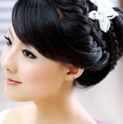 asian bridal braid updo with white