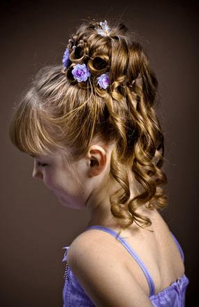 Elegant Flower Girl Hairstyle Updo With Purple FlowersPNG
