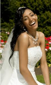 pretty long black bride hairstyle