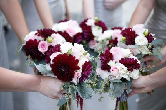 16 Elegant Burgundy And Blush Wedding Bouquet Ideas