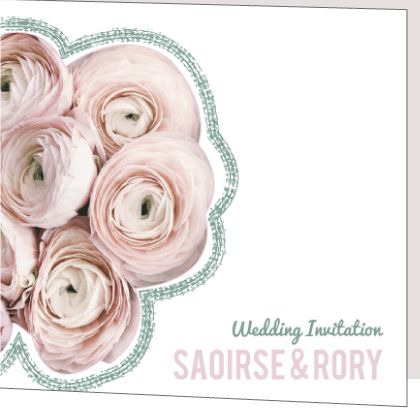 Fl Green And Pink Folded Wedding Invitation