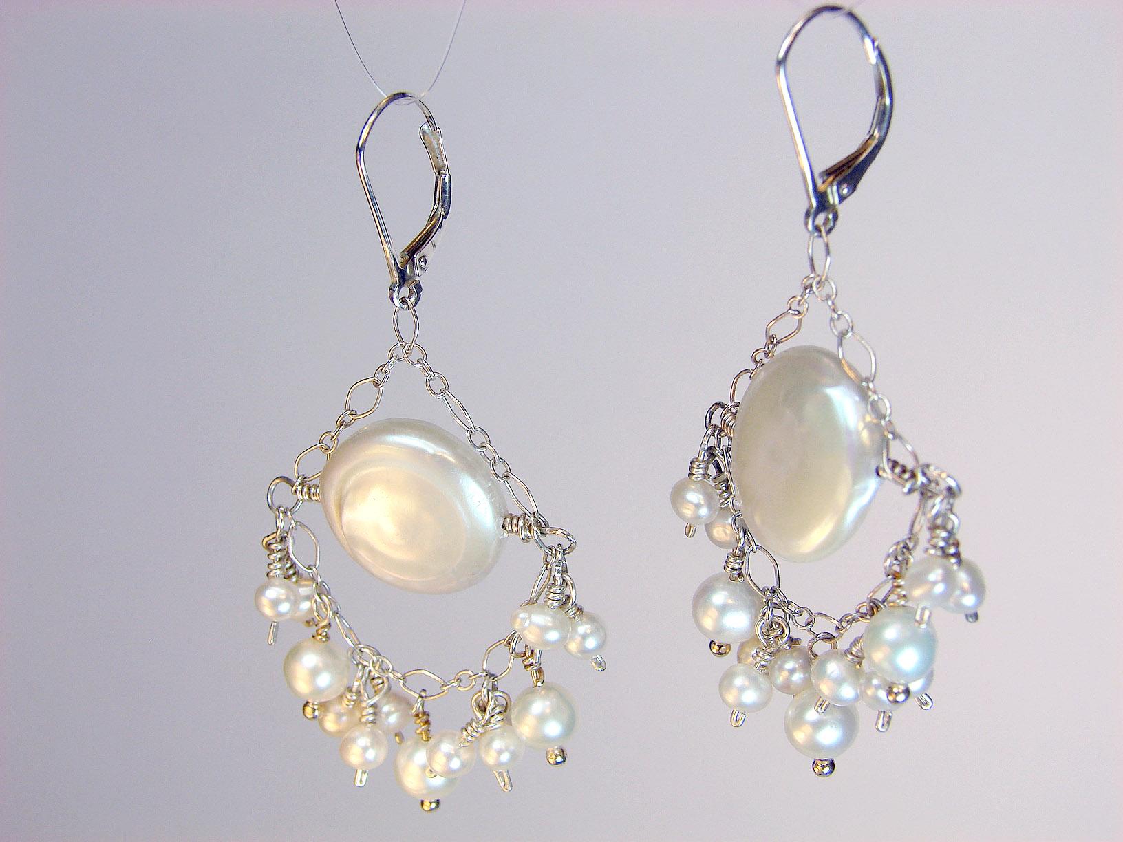 Portia Pearl Bridal Chandelier Earrings