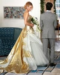 Blake Livelys stunning gold wedding dress