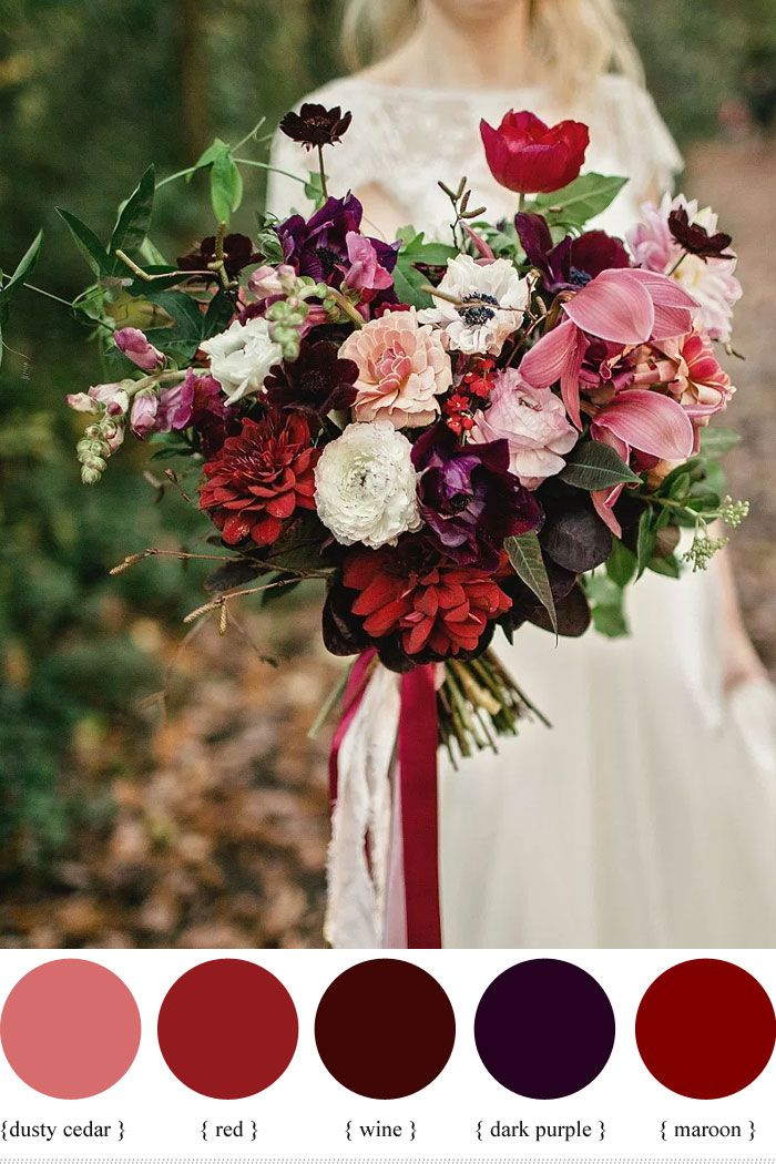 Wedding Quotes  Dark purple and shades of red autumn wedding bouquet  fabmoodcom wedding