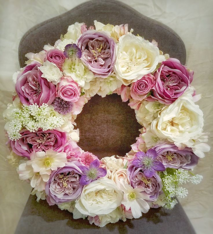 Brides Cars Silk Flower Wreath Purple Dirty Pink And