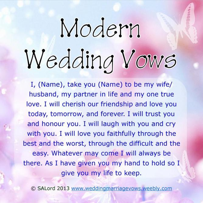 Modern Wedding Marriage Vows  Sample Vow Examples  Wedding  Marriage Vows