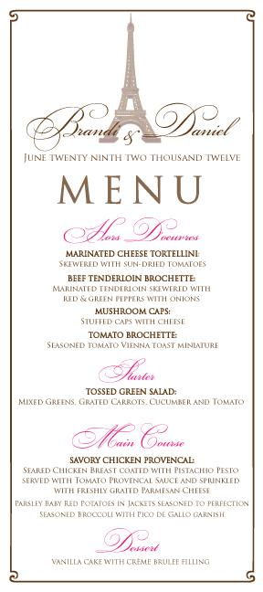 Paris Theme Wedding Menu And Program For Brandi Wedding