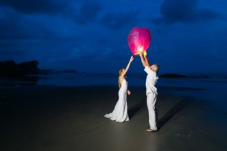 Wish Lanterns Beach Wedding in Dominical Costa Rica - Photography by John Williamson