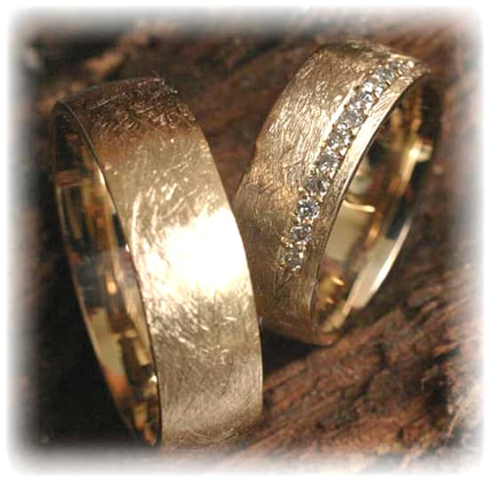 Diamond Wedding Rings FT261 Ice Matted Yellow Gold 585