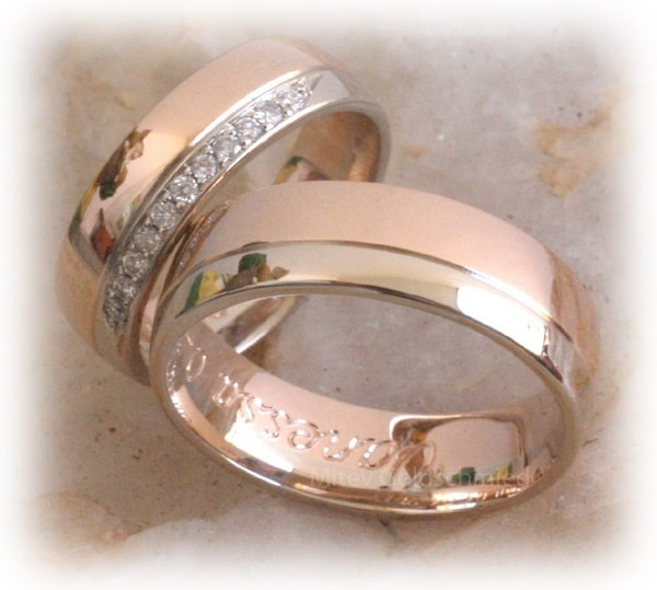Diamond Wedding Rings FT341 Two Tone Eternity White and