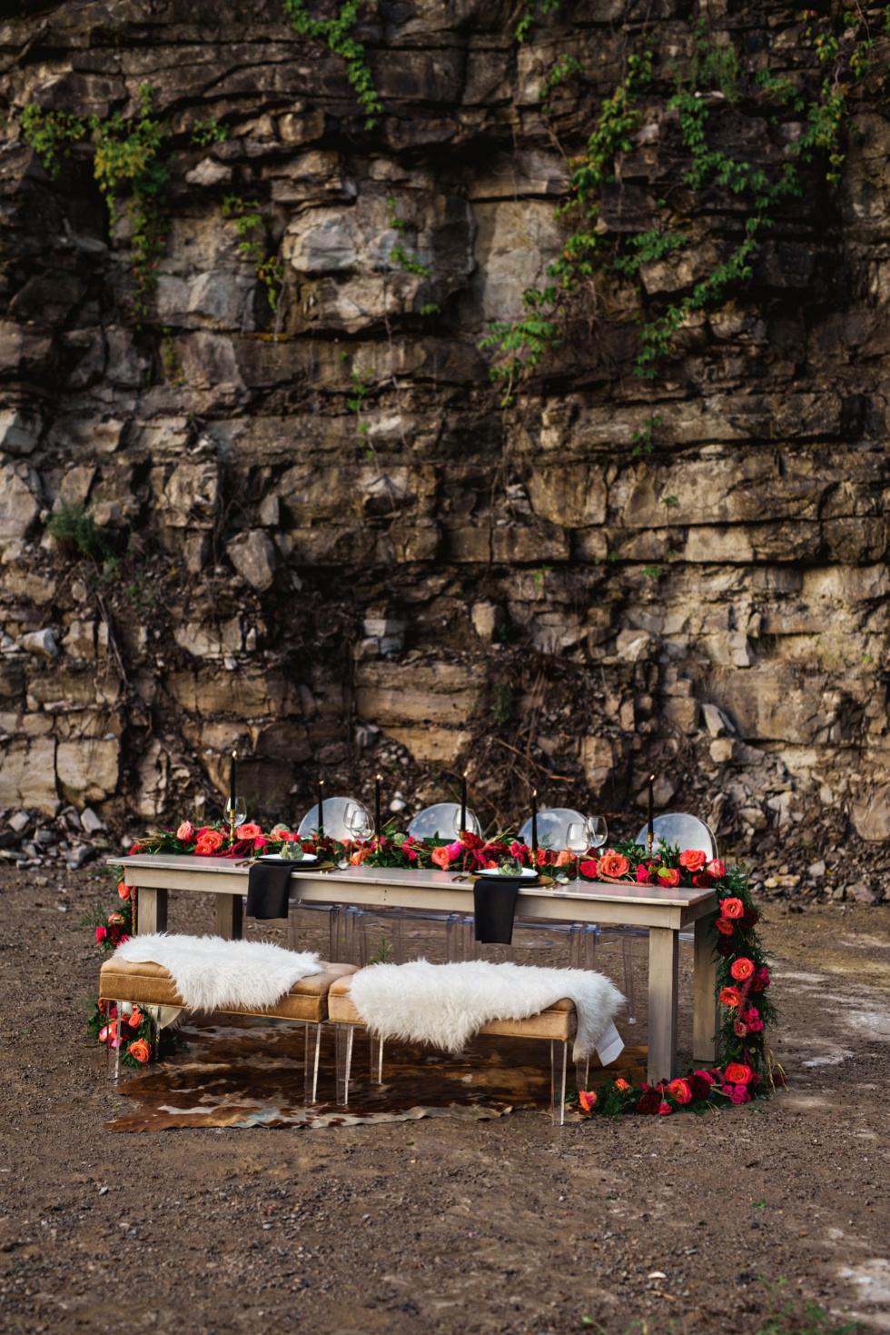 Red Flower Table Garland with Black Candles Graystone Quarry Nashville Weddings
