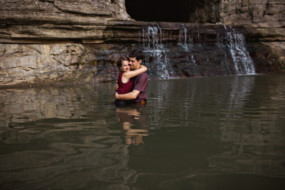 Waterfall Engagement Adventure Wedding Photographer in Nashville