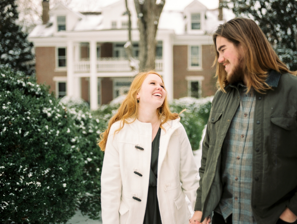 Homestead Manor Engagement Photographer in the Snow Nashville