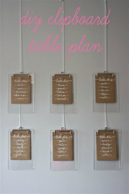Clipboard Table Plan via Whimsical Wonderland Weddings