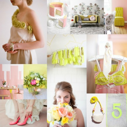 Soft Pink & Neon Yellow Wedding via Elizabeth Anne Designs